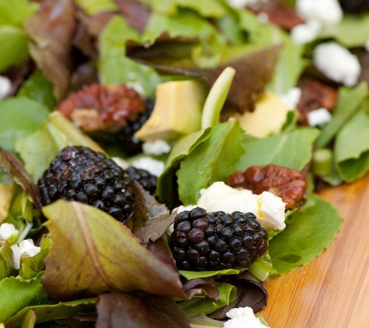 Greens with Blackberries and Passionfruit Vinaigrette Recipe