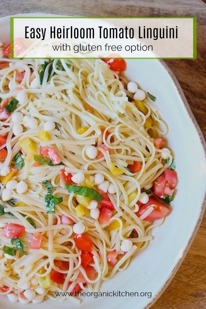 Heirloom Tomato Linguini in a white bowl on wooden table