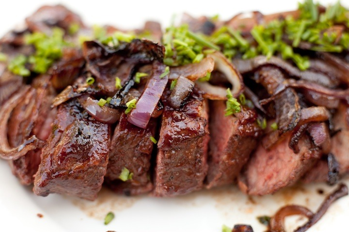 The Organic Kitchen Tri-Tip with Pomegranate BBQ sauce and Caramelized Onions