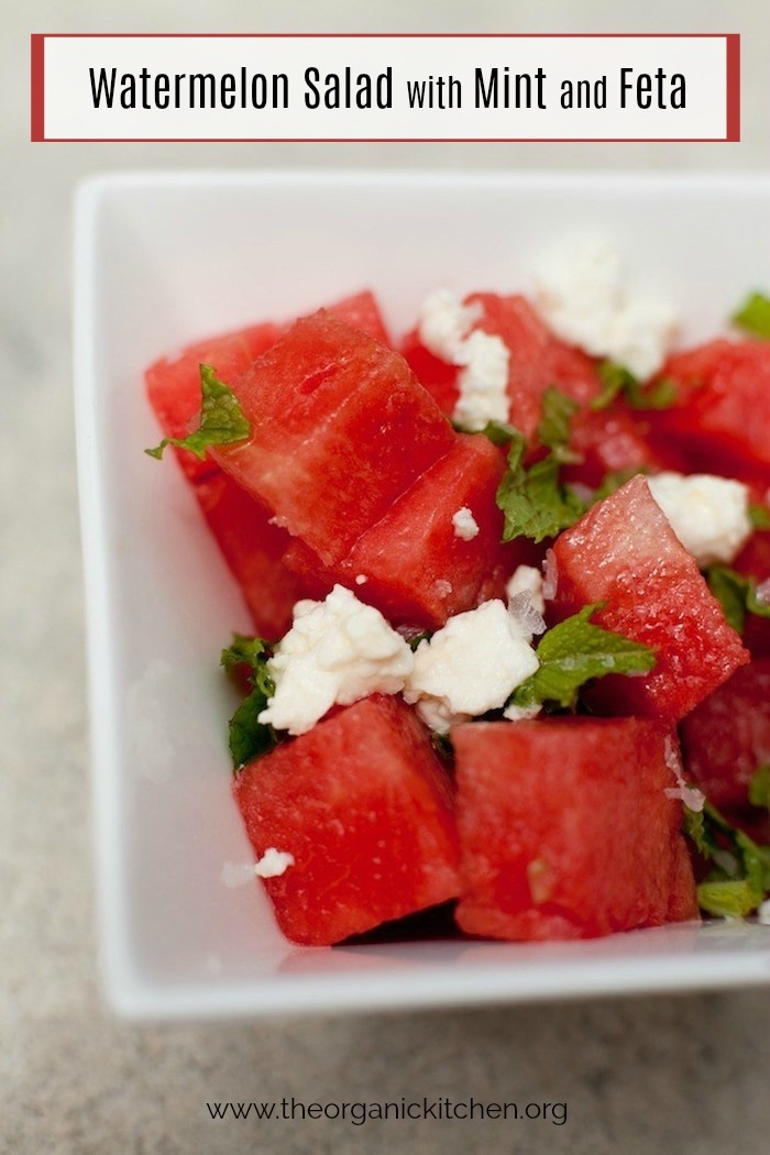Watermelon salad with mint and feta in a white bowl