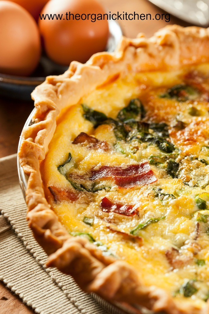 A close up photo of Spinach and Kale Quiche with Four Crust Options