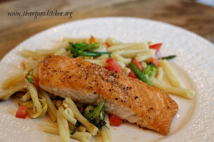 Summer Vegetable Pasta (with a Seared Salmon Option)