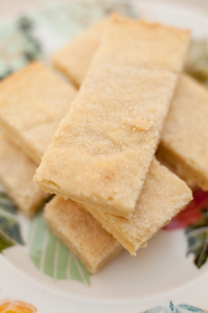 Stacked Shortbread Cookies used to make Lemon Shortbread Bars with Mascarpone