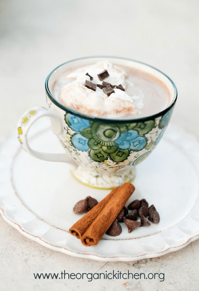 A mug of Spiced Hot Chocolate with Whipping Cream in a plate with chocolate chips and cinnamon sticks