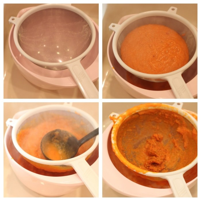 A photo collage showing how to strain tomato soup: Creamy Carrot and Tomato Soup from The Organic Kitchen