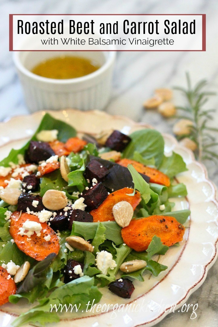 Roasted Beet and Carrot Salad with Lemon White Balsamic Vinaigrette on a white plate