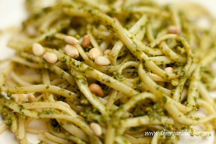Linguini with fresh basil pesto and pine nuts: How to Make Basil Pesto from The Organic Kitchen