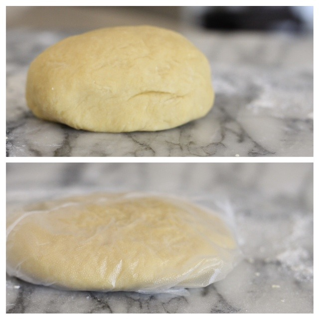 A ball of pasta dough unwrapped and wrapped for Homemade Butternut Squash Ravioli from The Organic Kitchen