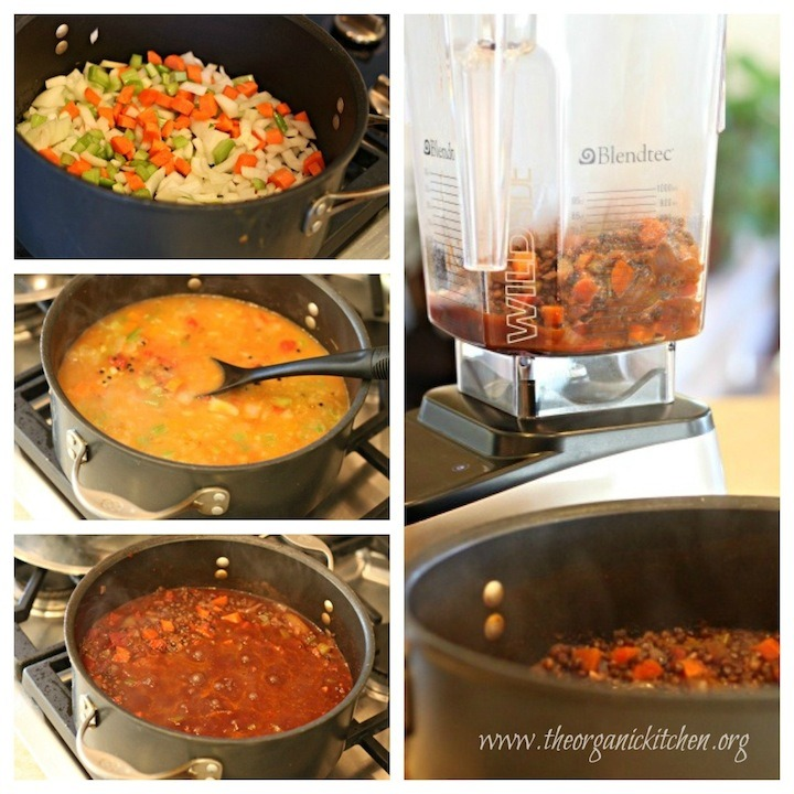 Four photos showing how to make Hearty Lentil Soup!
