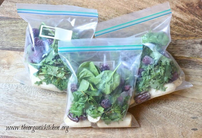 The ingredients for Blackberry and Baby Kale Breakfast Smoothie in baggies
