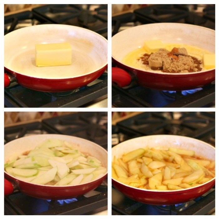 A collage depicting how to cook apples in butter and brown sugar