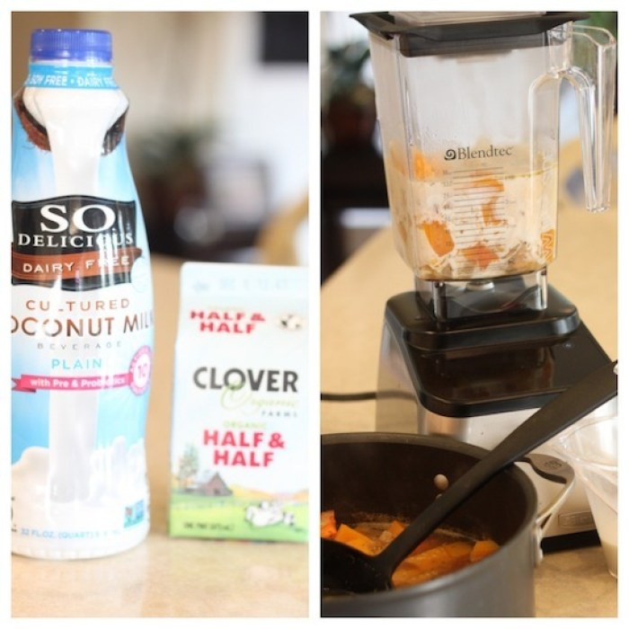 Two photos showing how to bend Creamy Butternut Squash Soup in a blender