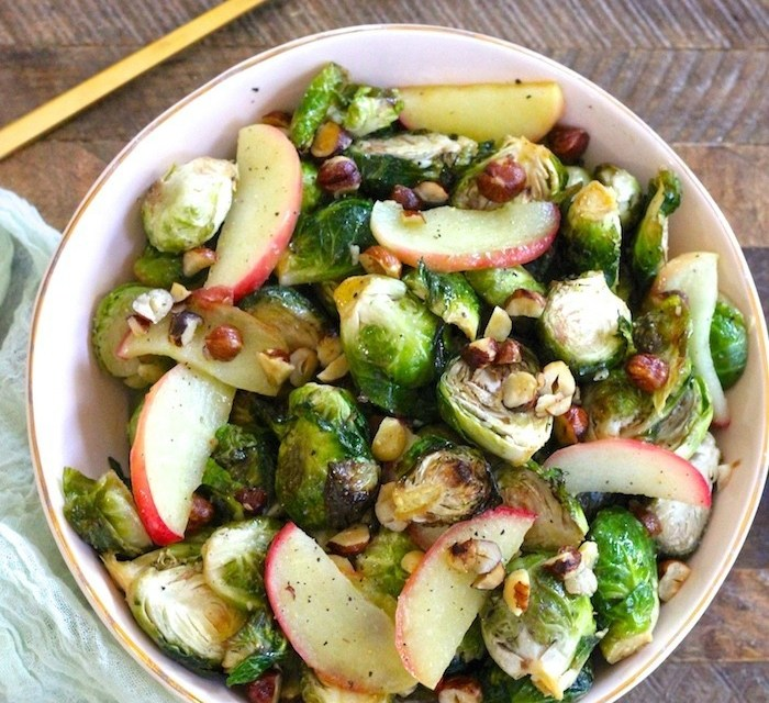 Roasted Brussels Sprouts with Apples and Hazelnuts