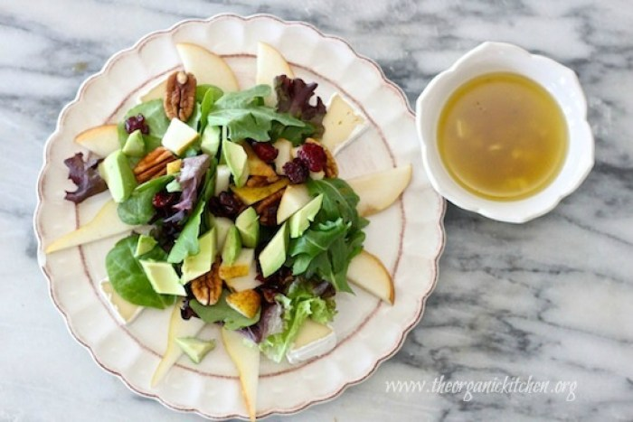 Pear and Brie Salad with Honey Champagne Vinaigrette
