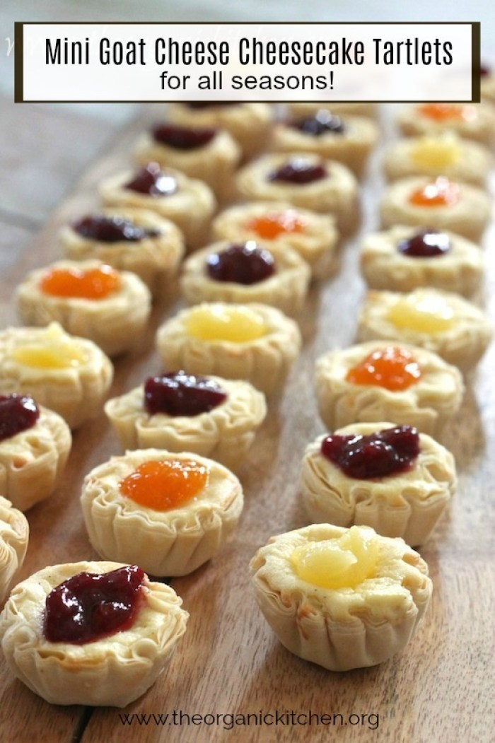 Mini Goat Cheese Cheesecake Tartlets for All Seasons on a wooden platter