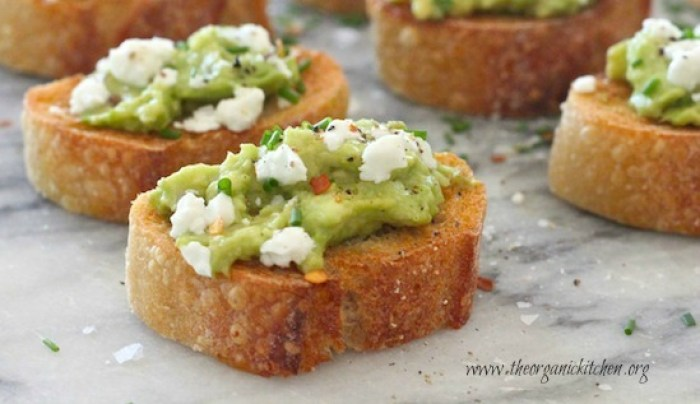 Avocado and Goat Cheese Toastettes garnished with chives