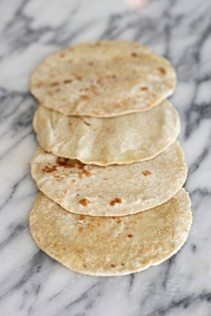 Four handmade tortillas for Fresh Fish Tacos