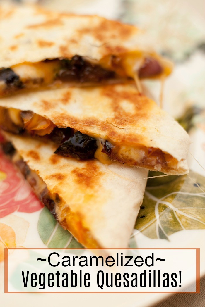 Three Caramelized Vegetable Quesadillas stacked on a small plate