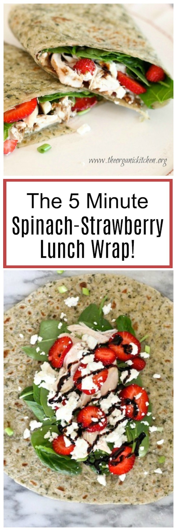 Spinach Strawberry Salad Wrap on white plate