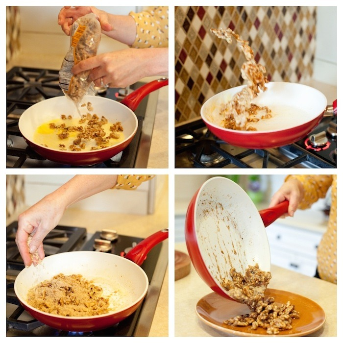 A females hands demonstrating how to make caramelized nuts to be used in The Organic Kitchen 'House Salad'.