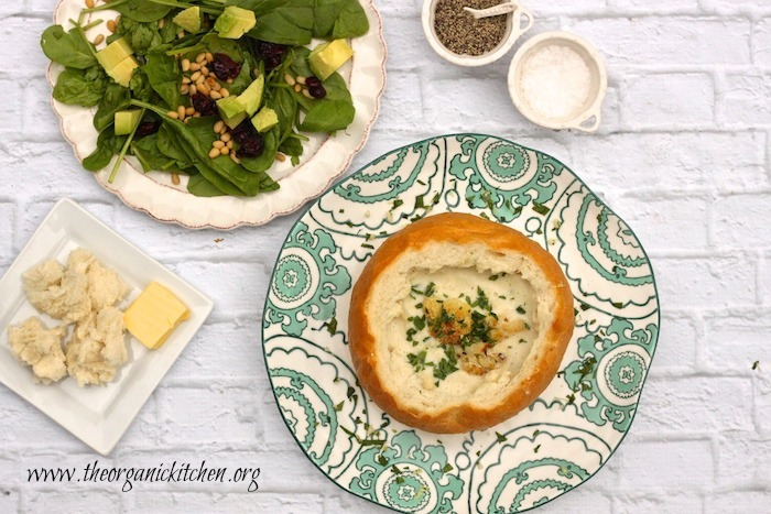 Casual Friday Menu ~ Roasted Cauliflower Soup and Spinach Salad