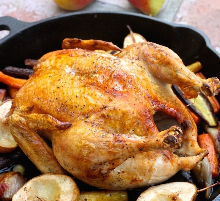 Roasted Skillet Chicken with Honey Ginger Glazed Carrots and Pears