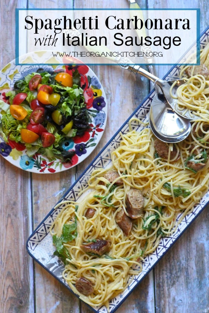 Spaghetti Carbonara with Spicy Italian Sausage and Rocket!