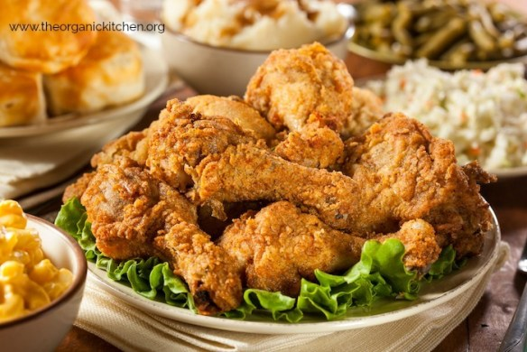 Oven Finished Fried Chicken and All The Fixin's! Gluten and grain free options offered!