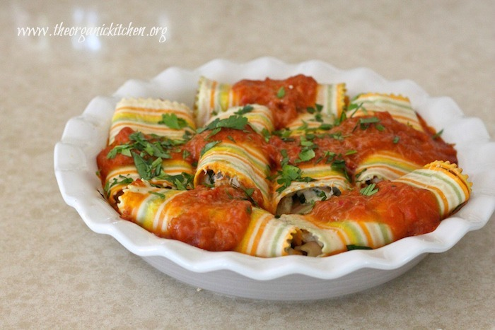 Three Cheese Lasagna Rolls with Chicken and Butternut Squash Sauce