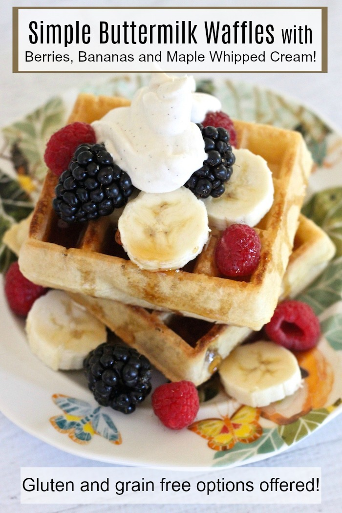 Buttermilk Waffles with Berries, Bananas and Maple Whipped Cream #buttermilkwaffles #glutenfreewaffles #mapleswetenedwhippedcream