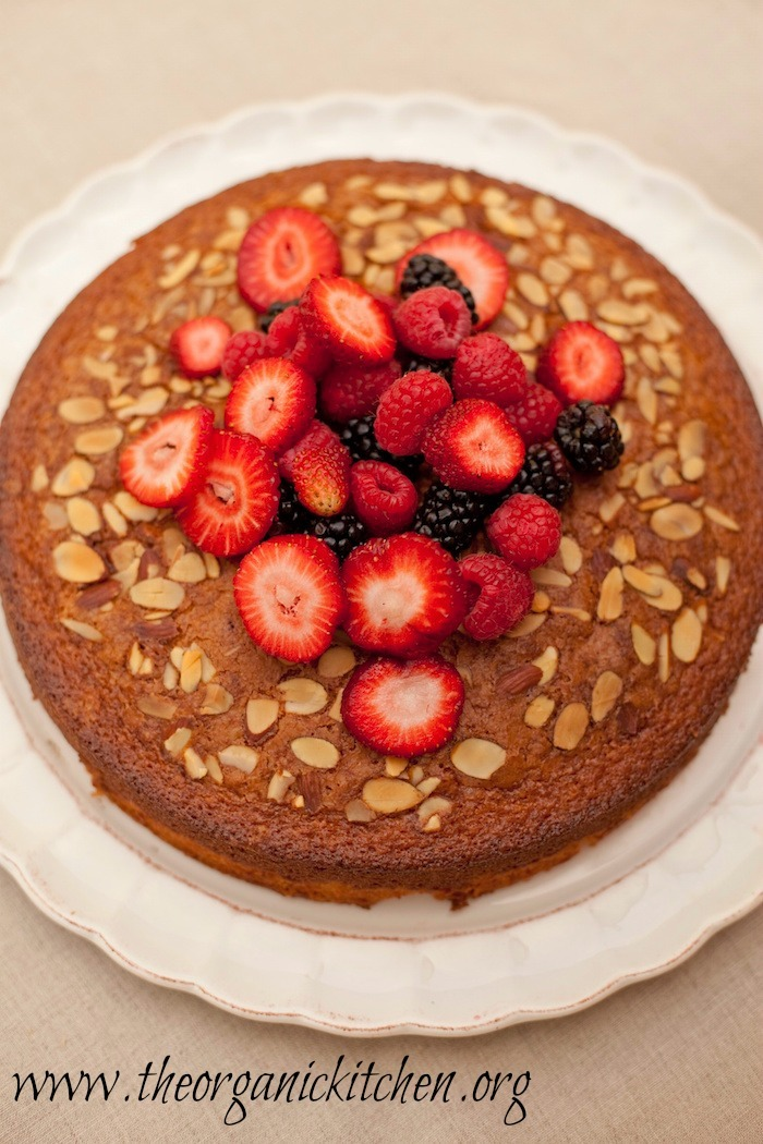 Traditional Olive Oil Cake with berries from The Organic Kitchen