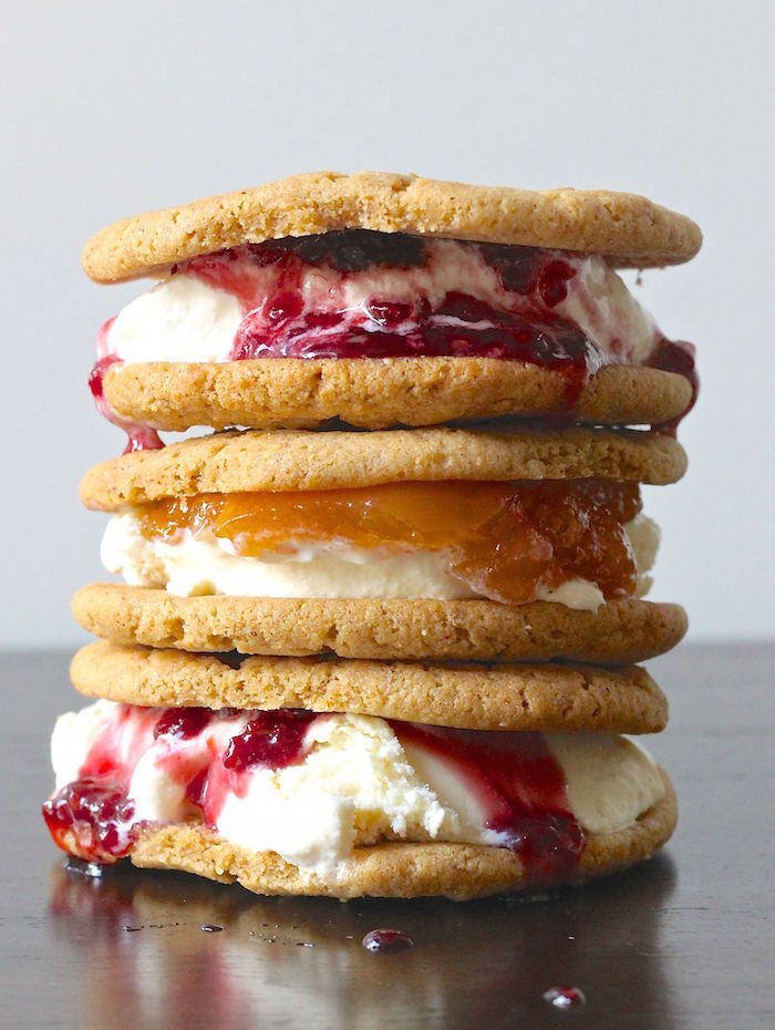 Three Almond Butter and Jam Ice Cream Cookie Sandwiches stacked