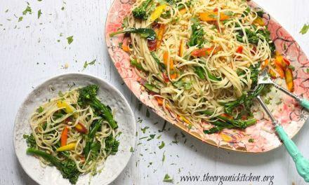 Linguini with Rainbow Carrots and Broccolini
