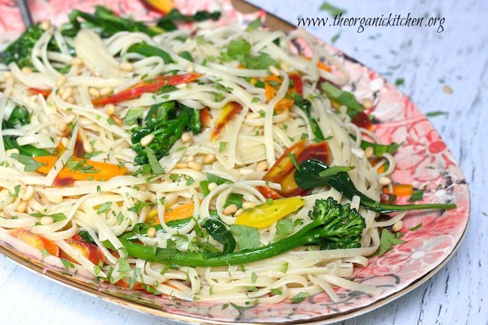 A platter with Linguini with Rainbow Carrots and Broccolini: Another 15 Minute Meal!