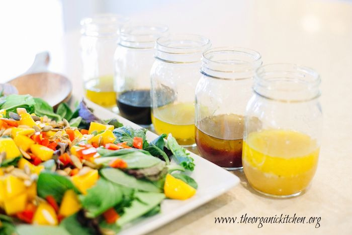 My Five Favorite Summer Salad Dressings next to a green salad