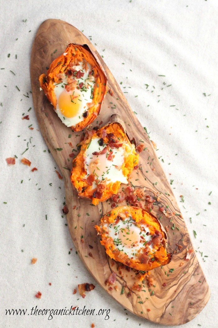 Twice Baked Sweet Potato with Bacon and Eggs