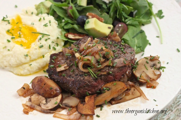 Grass Fed Top Sirloin with Caramelized Shallots and White Wine Reduction