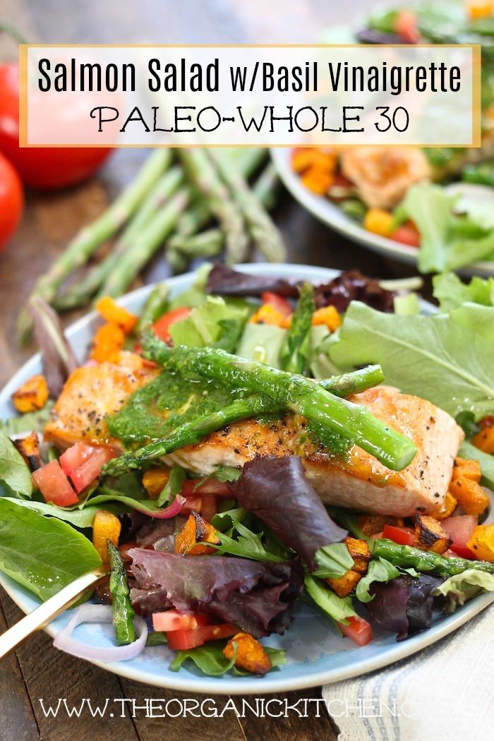 Salmon Salad with Basil Vinaigrette~ Paleo, Whole 30