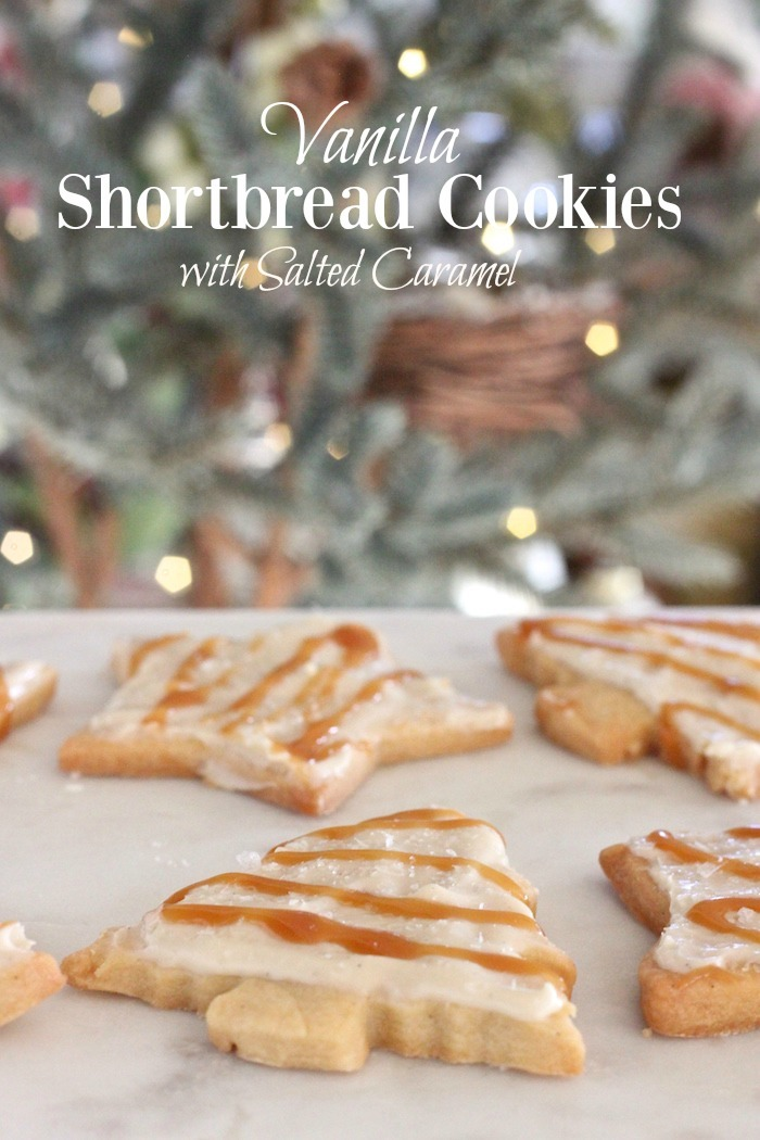Vanilla Shortbread Cookies with Salted Caramel