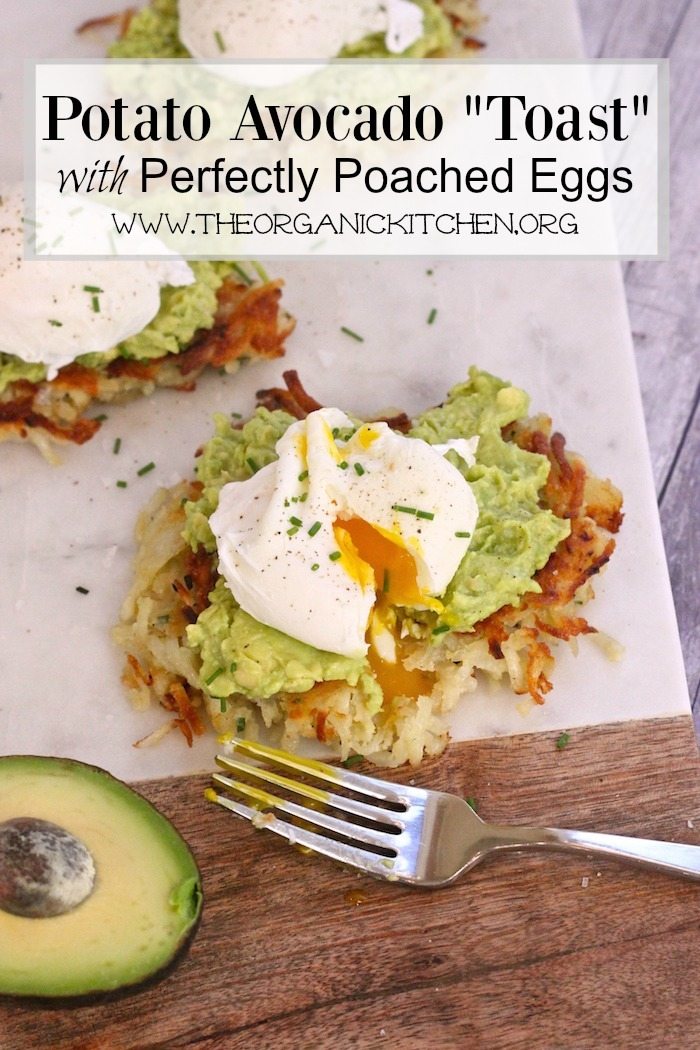 """Potato Avocado """"Toast"""" With Perfectly Poached Eggs on a marble cutting board"""
