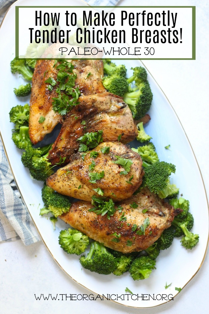 How to Make a Perfectly Tender Chicken Breast! A beautiful blue platter loaded with chicken breasts and broccoli