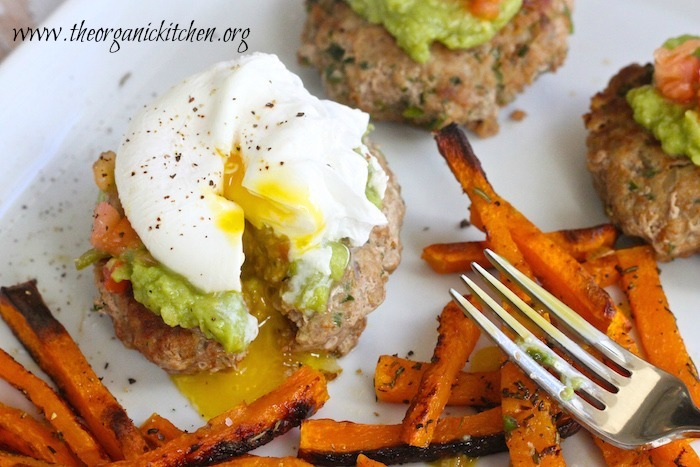 Jalapeño Turkey Burgers topped with poached egg and served alongside butternut squash fries