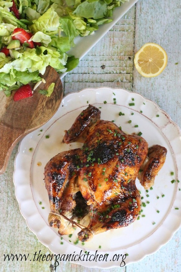 Amazingly Easy Roasted Chicken with Lemon Honey Glaze