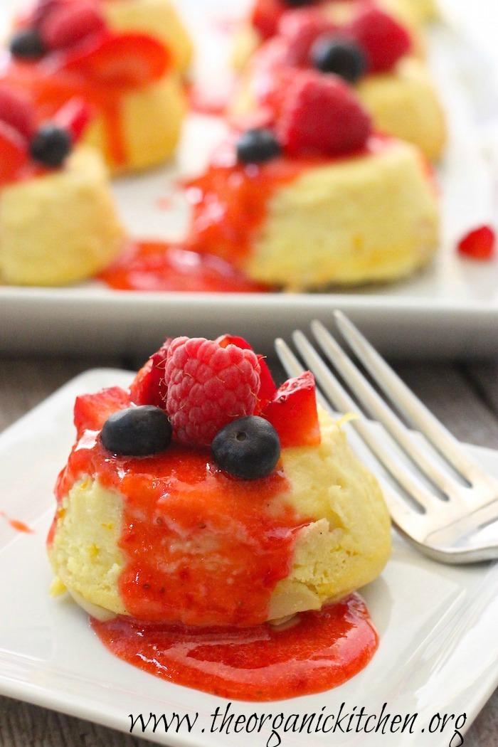 Lemon Vanilla Ricotta Cheesecake with Strawberry Coulis (gluten and grain free)