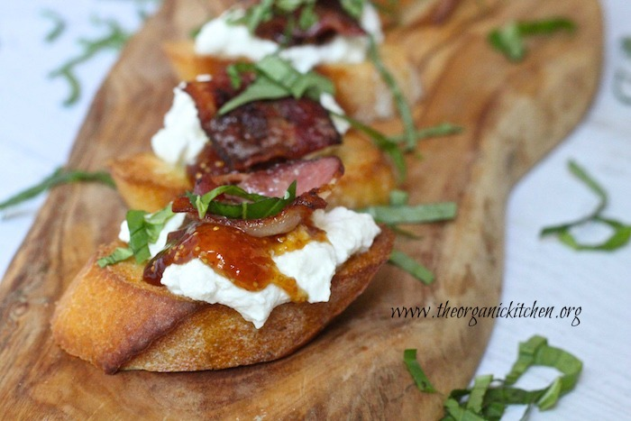 Bacon Ricotta Bruschetta with Fig Jam garnished with basil
