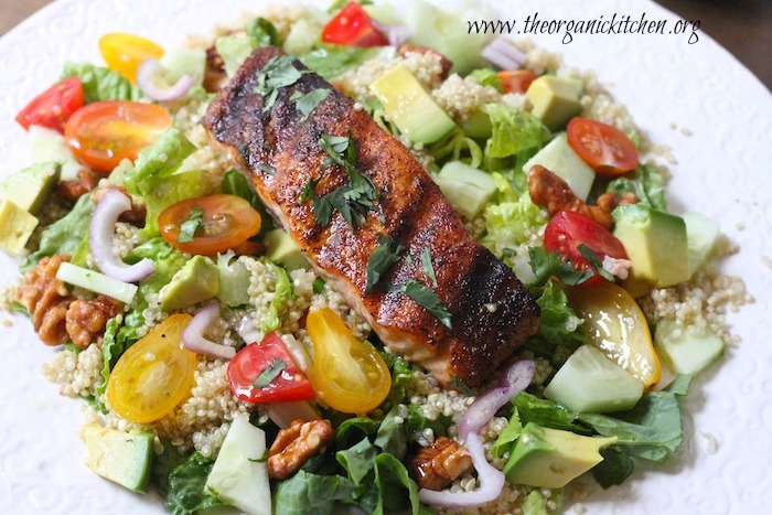 Blackened Salmon and Quinoa Salad with Lime Vinaigrette