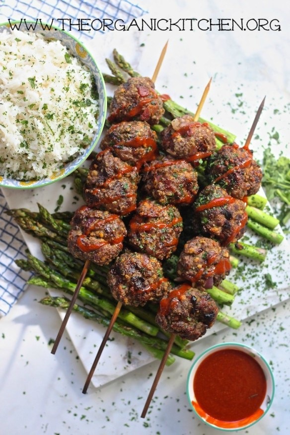 Grilled Bacon Sriracha Meatball Skewers with Coconut Rice! ~ Dairy Free, Gluten Free