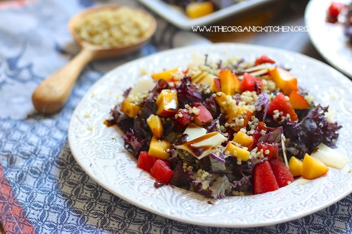 Watermelon, Peach, Quinoa and Purple Kale Salad
