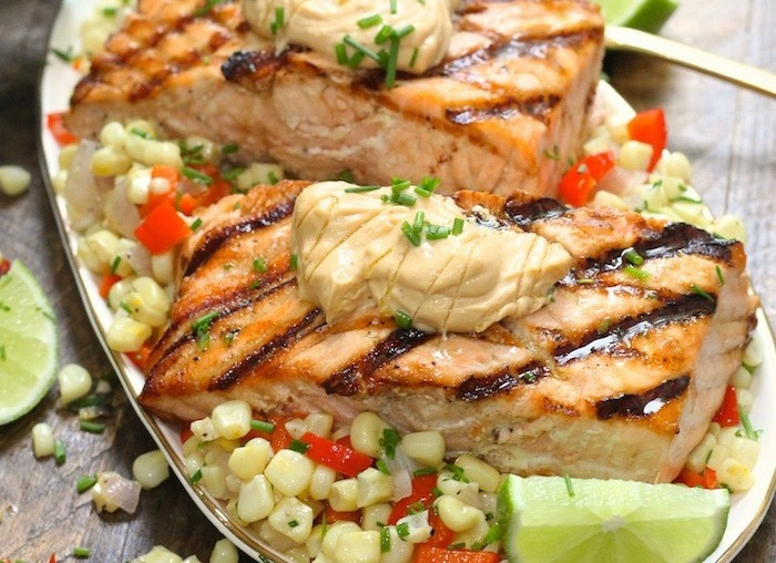 Salmon with Corn Hash and Chipotle Lime Mayo!