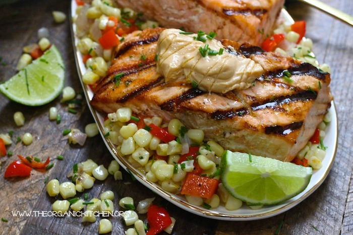 Salmon with Corn Hash and Chipotle Lime Mayo! #salmon #cornhash #chipotlelime #glutenfree #dairyfree